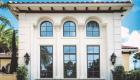 cast stone window treatment on grand window luxury home